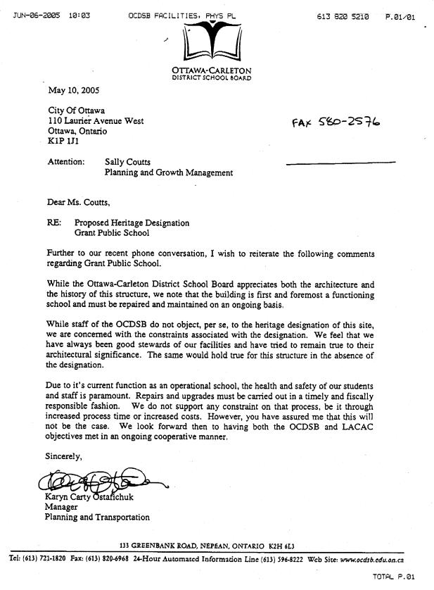 LETTER FROM OTTAWA CARLETON DISTRICT SCHOOL BOARD Document 5
