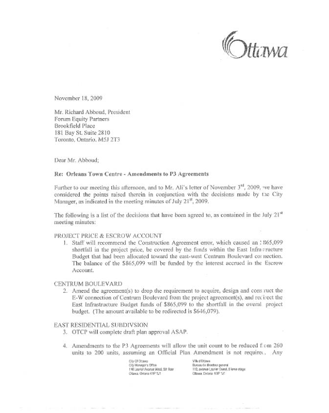 Orleans Arts Centre And Town Centre - Proposed Amendments To