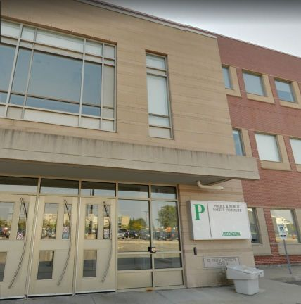 Exterior photo of the front entrance of the 'P' Building at Algonquin College.