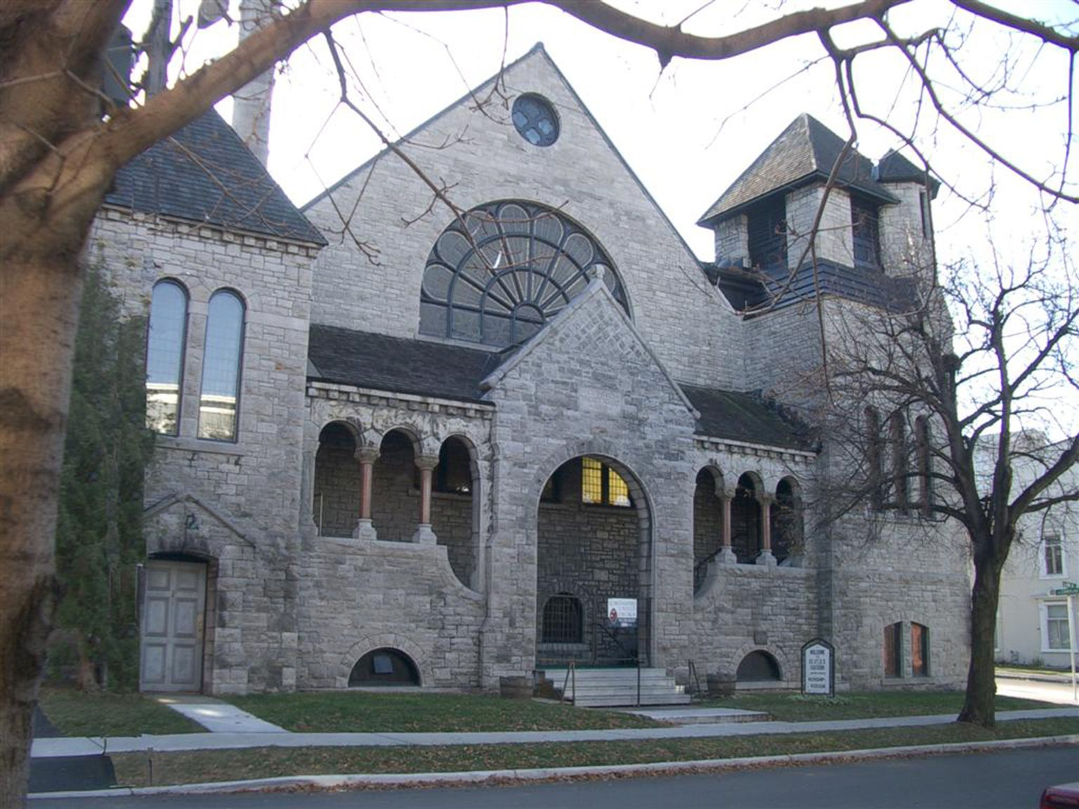 Exterior view of a church built in Romanesque Revival style between 1888 and 1889,