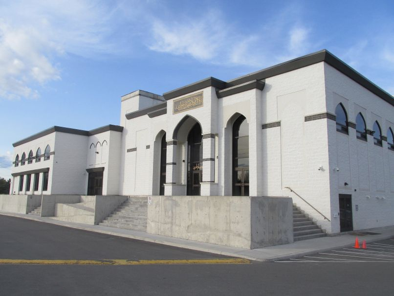 Exterior view of a 50,000 square foot prayer, physical, social and intellectual facility for the Muslim community.