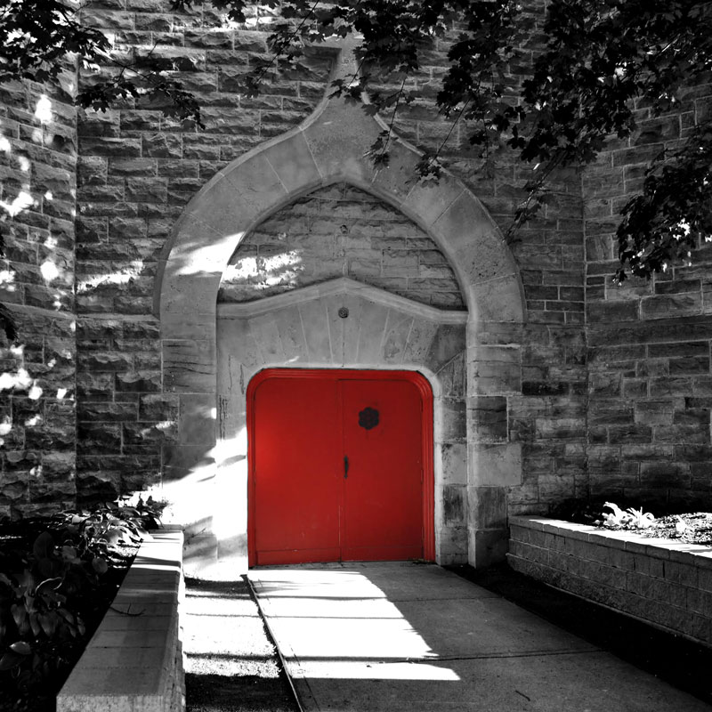 Exterior view of a large red door.