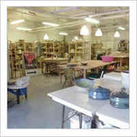 Interior view of a pottery studio.