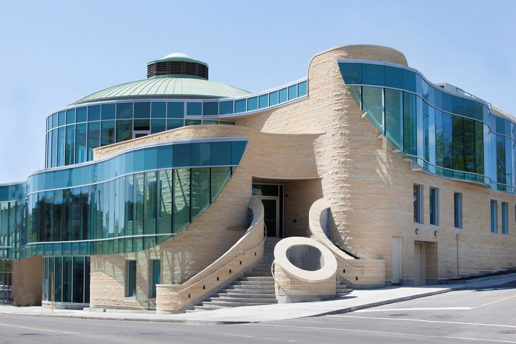 Exterior view of an award-winning and internationally recognized healthcare centre designed by Douglas Cardinal.